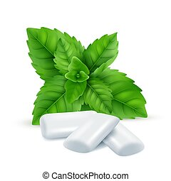Mint gum. Fresh menthol leaves with white gum sweets for breathing fresh smell vector realistic pictures