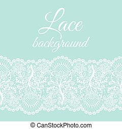 mint lace border - Invitation or greeting card with white...