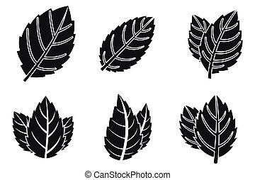 Mint leaf icons set, simple style