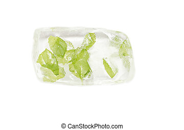 mint leaves frozen in ice isolated on white