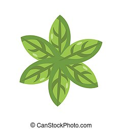 mint leaves icon, flat detail style