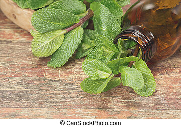 Fresh mint herb and Essential mint oil in a dark glass bottle with copy space for your text. A macro photograph with shallow depth of field
