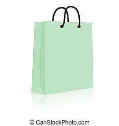 mint., shopping, corda, saco, vetorial, papel, em branco, handles.