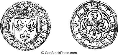 Mint struck Charles VIII in Italy, vintage engraving.