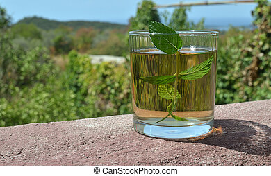 Mint tea and Mediterranean landscape - Glass of aromatic...