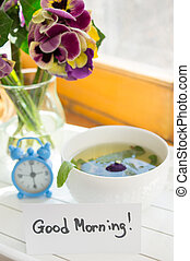Mint tea, violas flowers and Good morning note - Glasses of ...