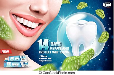 Mint whitening toothpaste ads