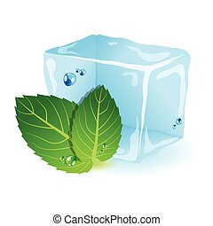 Mint with ice - Vector picture with ice and mint leaf