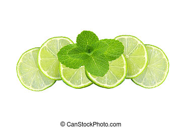 Mint with lime sliced isolated on white