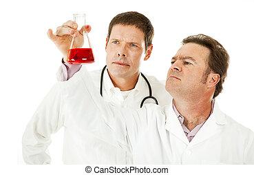 minta, megvizsgál, vér, orvosok