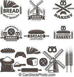 mintalécek, állhatatos, shop., szöveg, elnevezés, pékség, vektor, állás, monochrom, -e
