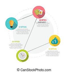 mintalécek, alapismeretek, illustration., ügy, workflow, timeline, vagy, infographic, munka, vektor, lépések, karika, bemutatás, opciók