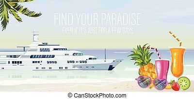 mintalécek, nyár, poszter, utazás, utazás, vector., cirkálás, csónakázik
