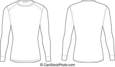 mintalécek, t-shirt., tél, kabátujj, férfiak, hosszú, meleg, tiszta, underwear.