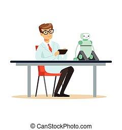 mintapéldány, teszt, természettudós, robot, konstruál