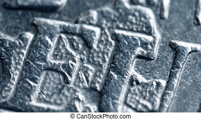 Minted EU letters on Euro coin. Super macro shot - Minted EU...