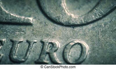 Minted Euro letters on the coin. Super macro shot - Minted...