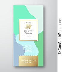 Minty Chocolate Label. Abstract Vector Packaging Design Layout with Soft Realistic Shadows. Modern Typography, Hand Drawn Mint Spice Branch Silhouette and Colorful Background.