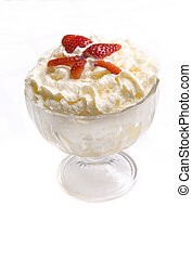 minty whipped cream with fruits decorated by strawberry