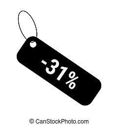Minus 31 thirty one percent discount sale label tag. Flat coupon sticker icon.