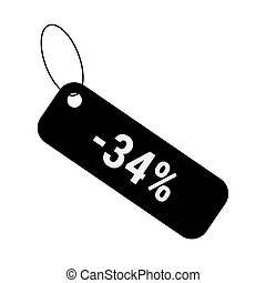 Minus 34 thirty four percent discount sale label tag. Flat coupon sticker icon.