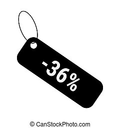 Minus 36 thirty six percent discount sale label tag. Flat coupon sticker icon.