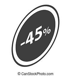 Minus 45 percent sale black icon, isometric style