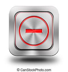 Minus aluminum glossy icon, button, sign