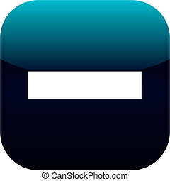 minus blue web icon on white background