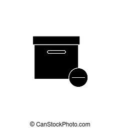 Minus Box Icon Flat Style Isolated Illustration