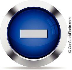 Minus button - Blue glossy steel minus button