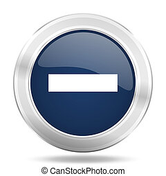 minus icon, dark blue round metallic internet button, web and mobile app illustration