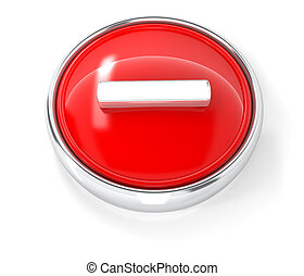 Minus icon on glossy red round button