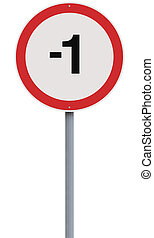 A modified speed limit sign indicating minus one