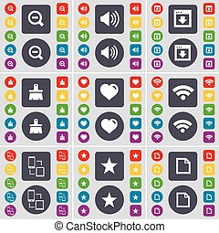 Minus, Sound, Window, Brush, Heart, Wi-Fi, Connection, Star, File icon symbol. A large set of flat, colored buttons for your design. Vector