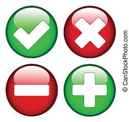 minus, tick, plus, kruis, tekens & borden