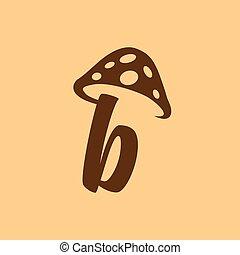minuscolo, b, fungo, vettore, lettera, logotipo, icona