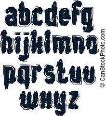 minuscule, ensemble, lettres, griffonnage, lettres, vecteur, brosse, monochrome, manuscrit, typescript, brushstrokes., main-peint