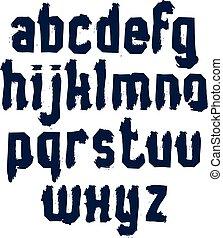 minuscule, lettres, élégant, griffonnage, lettres, monochrome, vecteur, sale, alphabet., encre, dessiné, brosse, manuscrit