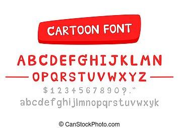 minuscule, nombre, alphabet, mignon, argent, dessin animé, anglaise, lettres, signe, vecteur, majuscule, police