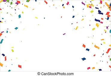 minuscule, transparent, tomber, coloré, beaucoup, fond, confetti, isolé