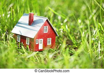 minuscuul, rood, woning, in, groen gras