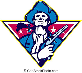 minuteman, americano, pistola, flintlock, patriota