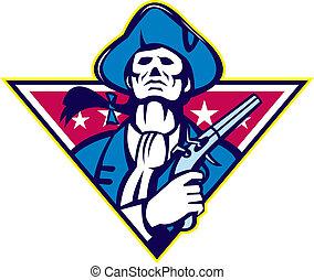 minuteman, amerikai, pisztoly, flinta, patrióta