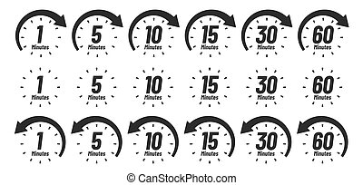 Minutes time icon. Analog clock Icons, 1 5 10 15 30 60 minute clocks and minutes ago sign vector set