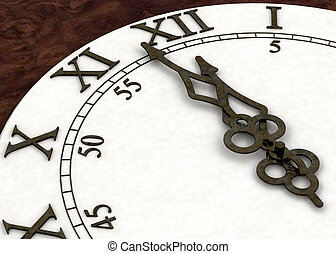 Minutes to midnight - 3D render of a clock face showing...