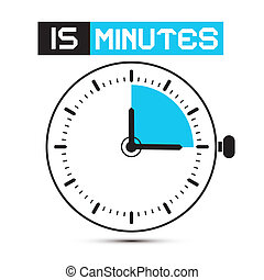 minutos, reloj, -, parada, ilustración, reloj, vector, ...