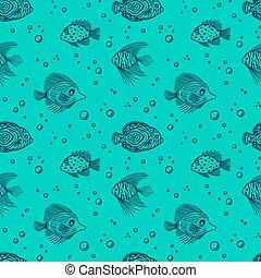minze, aquarium, muster, reizend, seaquarium, fische, blasen, design, seamless, geschäfte, markt, shop., gewebe, gebrauch, fish., grobdarstellung, verpackung, scrapbooking., hintergrund., meer