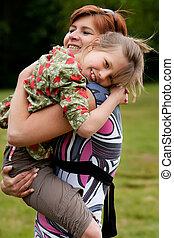 mio, abbracciare, madre