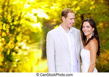 miodowy miesiąc, para, żonaty, park, właśnie